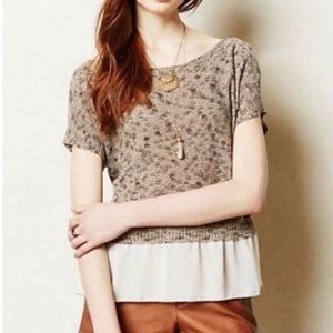 ANTHRO Moth Knit Brown Skirted Blouse Size XS